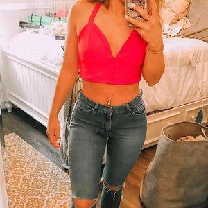 Red crop top with tie back